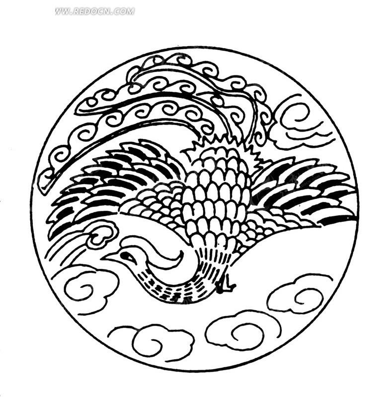 凤纹 图案 纹样 祥云 装饰图案 黑白图案 线条 传统素材 传统纹样
