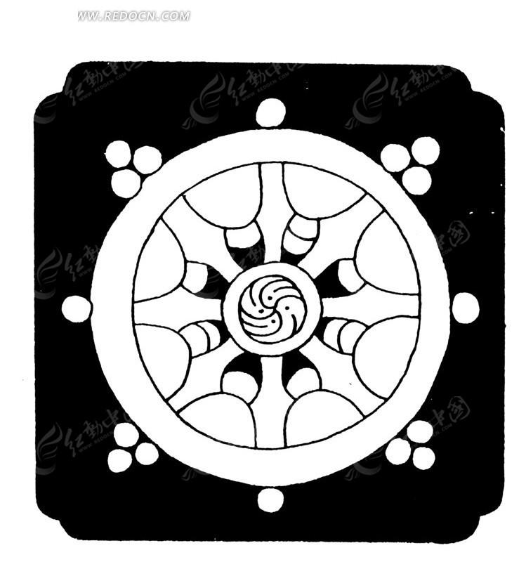 中国古典图案-圆形和几何形构成的图案