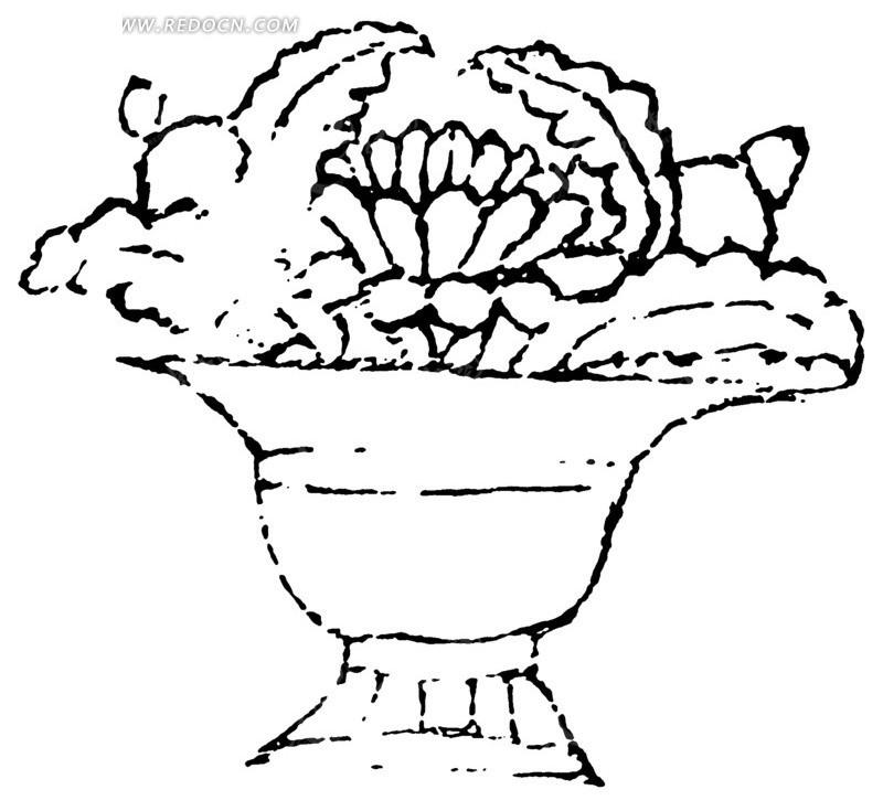 矢量花卉花盆图案素材