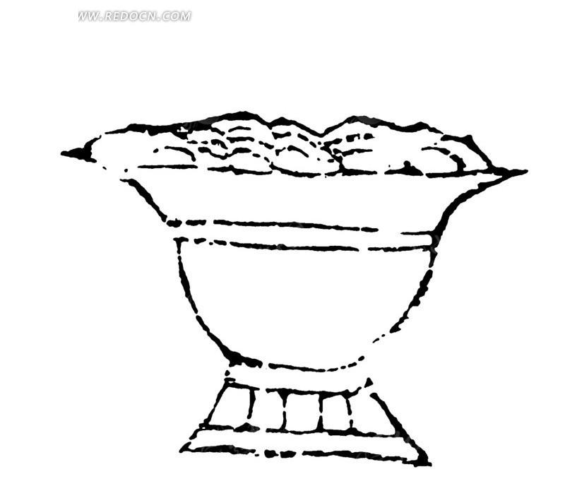 古典矢量花纹素材  矢量古典花盆素材  矢量传统花纹素材 矢量黑白