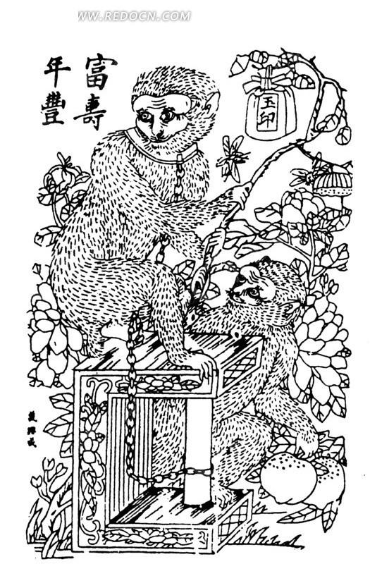 中国古典绘画-猴子和花朵叶子矢量图_传统图案