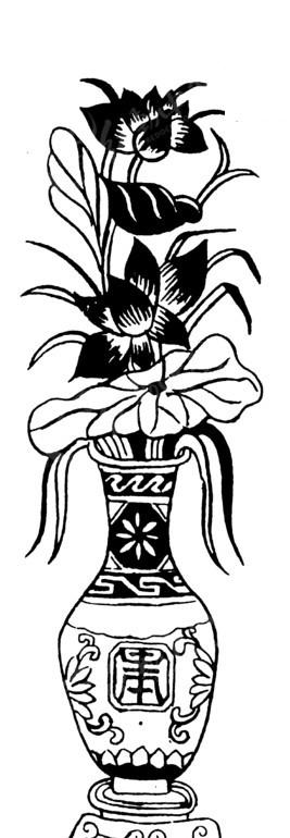 中国传统花瓶里面的荷花