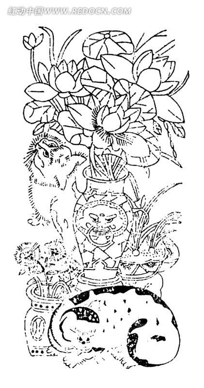 中国古典图案-插在花瓶的荷花和猫