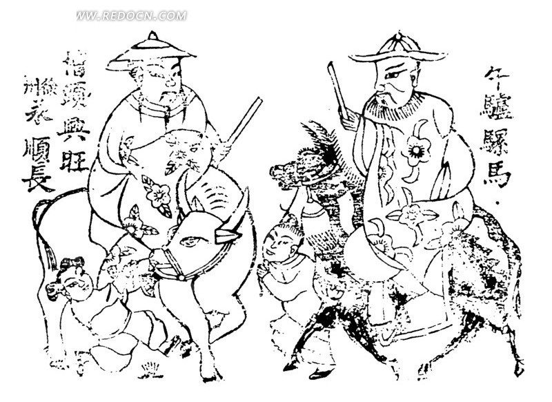 中国年画-骑着动物的两个男子和童子
