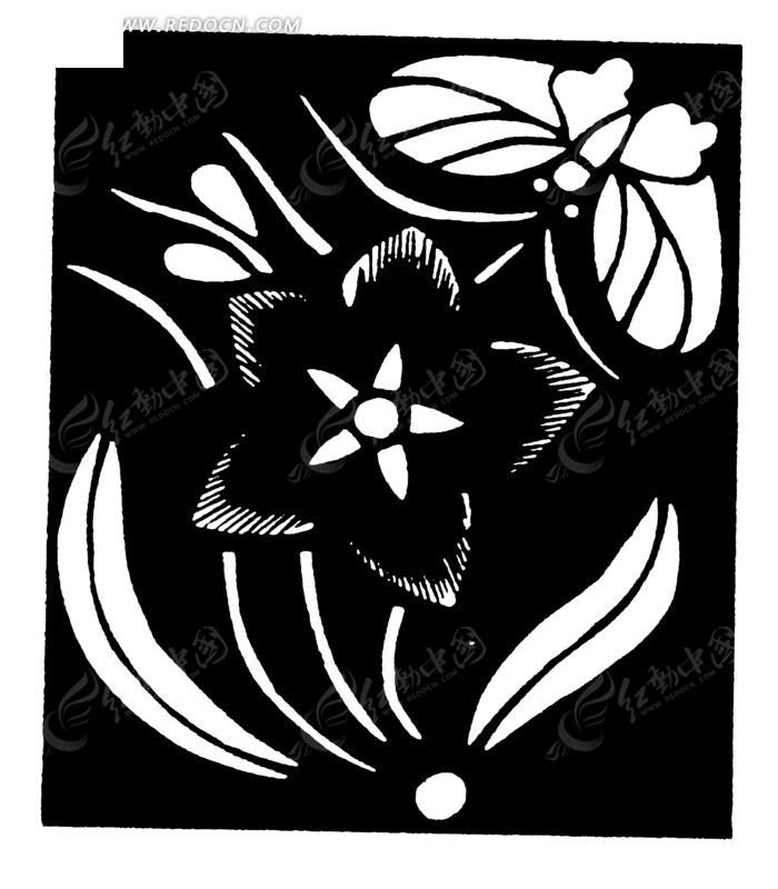 中国古典图案-花朵叶子蝴蝶构成的方形图案图片