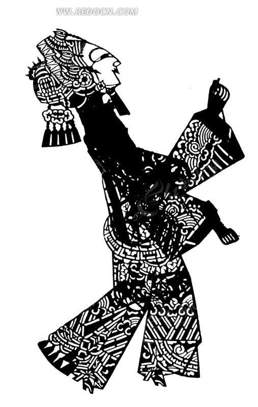 皮影人物 微笑 走路 古代女子 皮影戏 传统艺术  传统图案 矢量素材