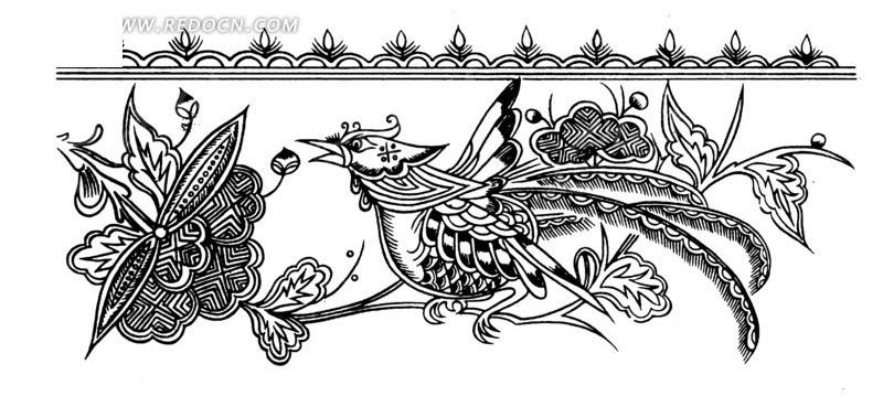 精致的花朵 张开嘴巴 鸟 植物 叶子 线描图 手绘 传统图案 矢量素材