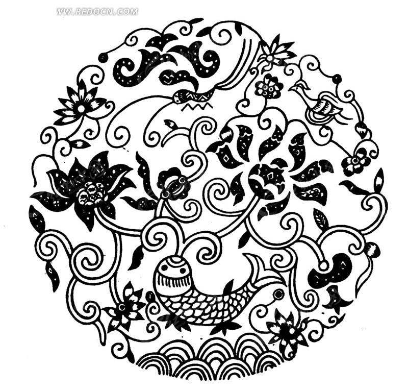 荷花手绘纹样装饰画