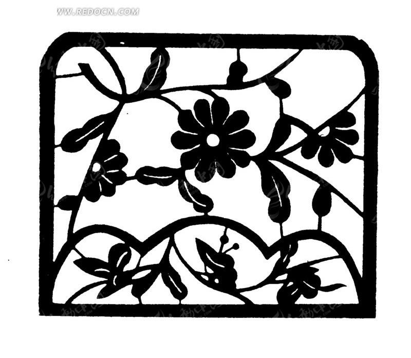 开花的植物方形剪纸图案