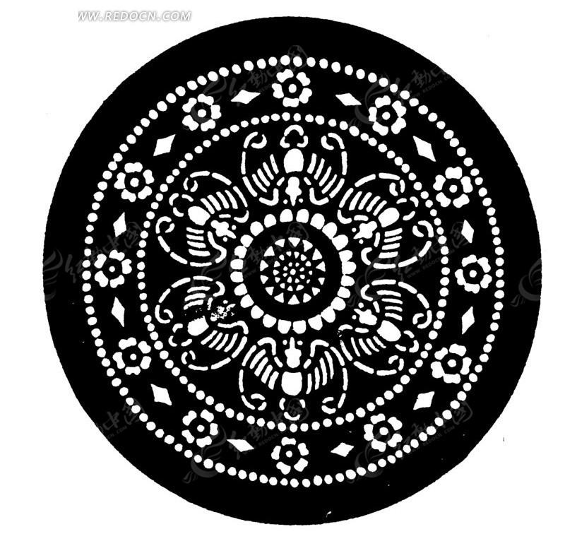 剪纸图案 圆盘中的对称图案矢量图 传统图案