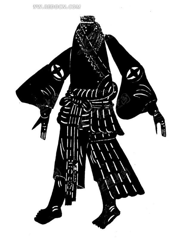 传统黑白人物身体剪纸画矢量素材