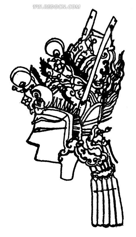传统黑白人物头像剪纸画矢量素材
