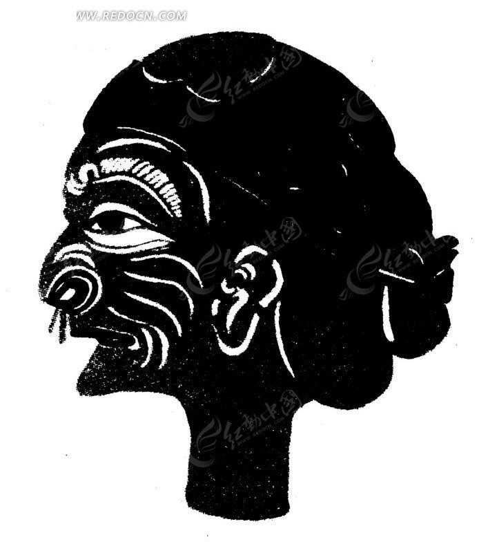 传统黑白女性人物头像剪纸画矢量素材