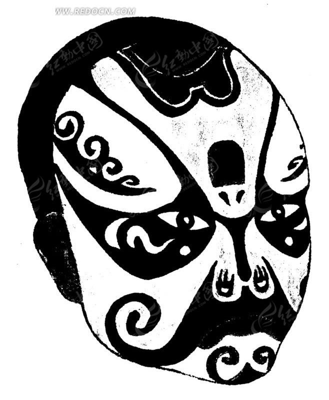 脸谱 京剧 面具 中国风 中国古典 传统艺术 黑白图案 工艺美术 工艺品图片