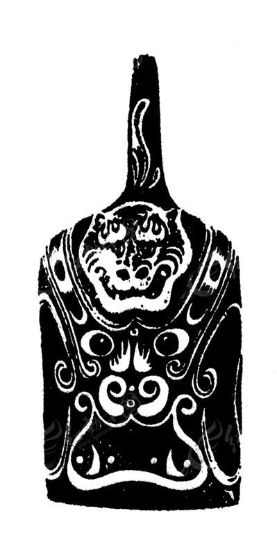 免费素材 矢量素材 艺术文化 传统图案 传统黑白虎头纹马勺脸谱矢量图