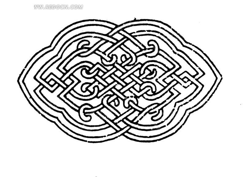 勾连吉祥结纹构成的两瓣形花纹图案