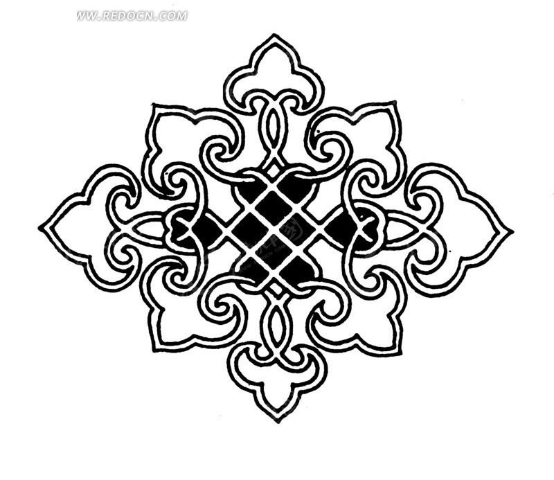 手绘黑白线条的精美花纹