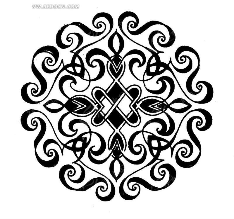 手绘卷曲的花纹构成的圆形图案设计图片  (800x777); 手绘卷曲的花纹图片