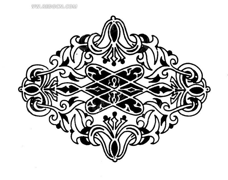 手绘精美的对称花纹矢量图_传统图案
