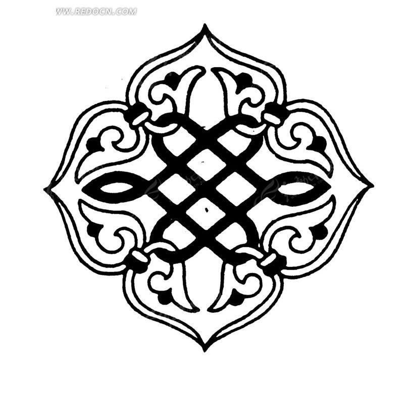 免费素材 矢量素材 艺术文化 传统图案 手绘如意花纹吉祥结  请您分享图片