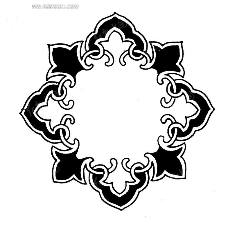 手绘菱形对称花纹图案图片
