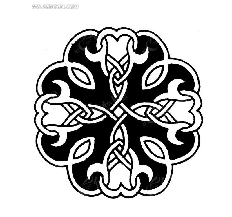 手绘黑白色圆形图案