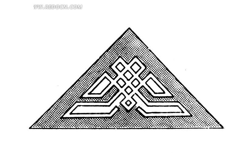 圆点纹和穿叠直线条构成的吉祥结三角图案图片