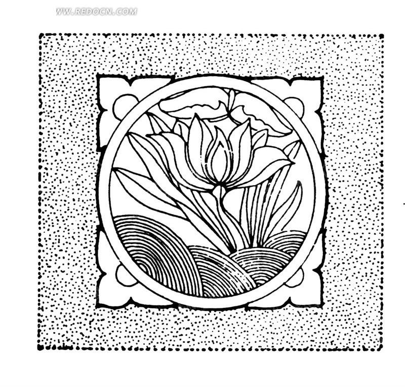 中国古典图案-花朵和曲线构成的方形图案图片