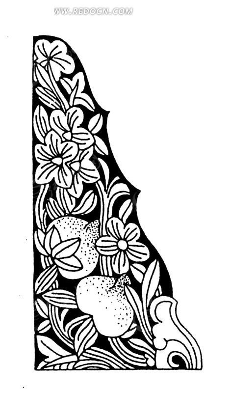 中国古典图案-花朵叶子卷曲纹构成的花边矢量图_传统