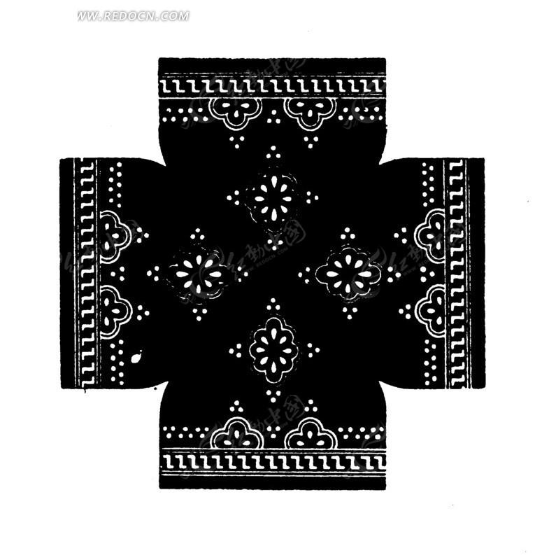 对称花瓣圆点z线条构成的民间布料花纹图案图片