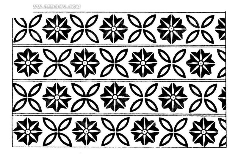 中国古典图案-花朵构成的连续纹样图片
