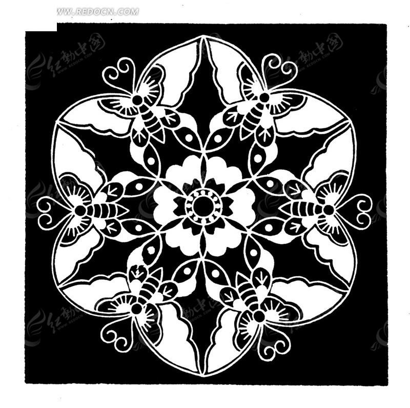 蝴蝶构成圆形花朵图案矢量素材图片