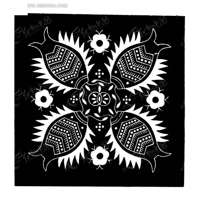 中国古典图案-四条鱼和花朵构成的黑白方形图案