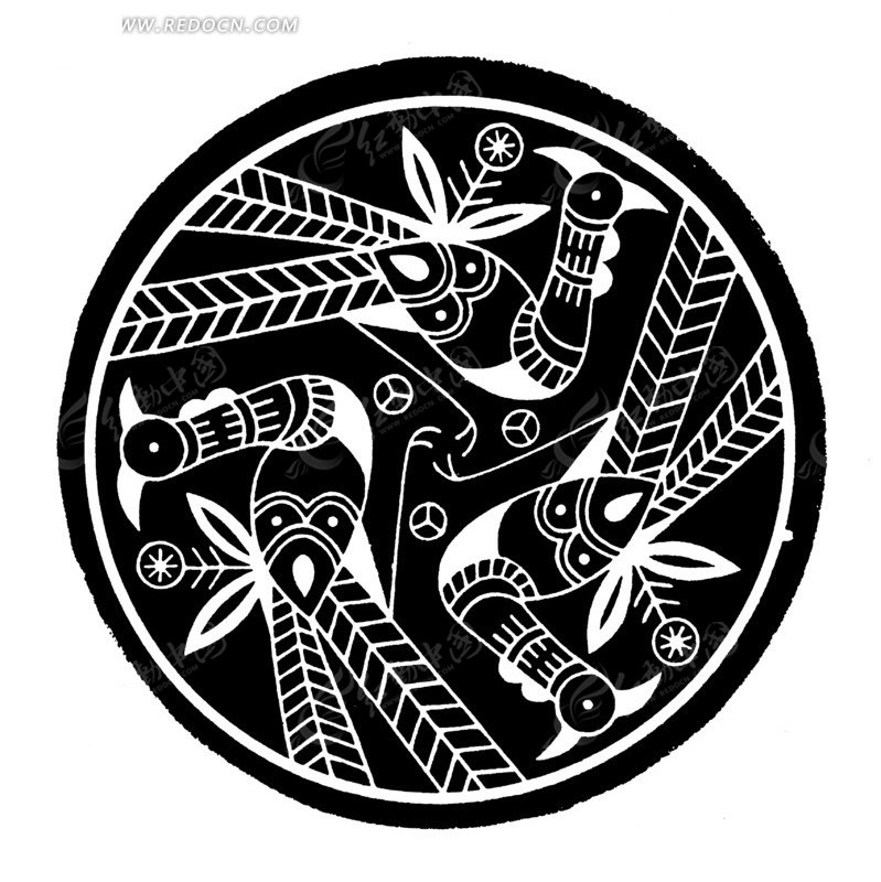 古典圆形凤纹纹样矢量素材矢量图ai免费下载_传统图案图片