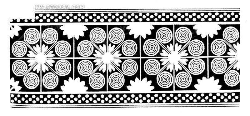 中国古典图案-几何形和卷曲纹构成的黑白图案图片