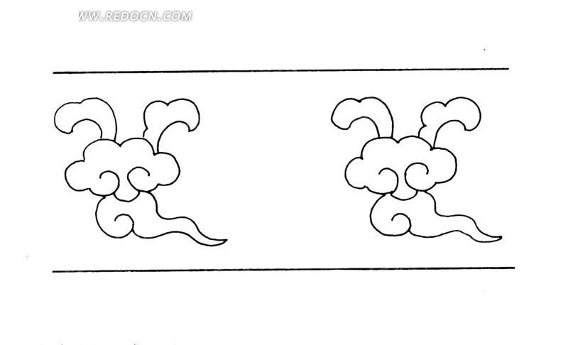 中国古典图案-云纹构成的图案矢量图图片