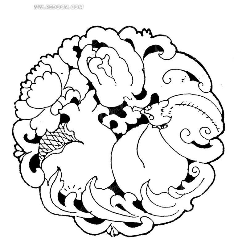 免费素材 矢量素材 艺术文化 传统图案 > 中国古典图案-蝙蝠和花朵