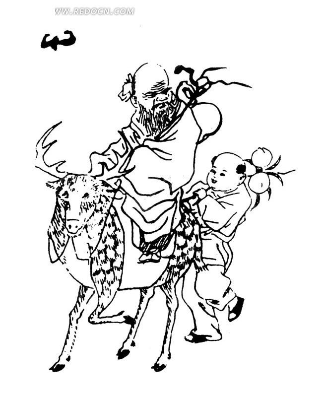 梅花鹿 老人 小孩 仙桃 矢量素材 传统图案