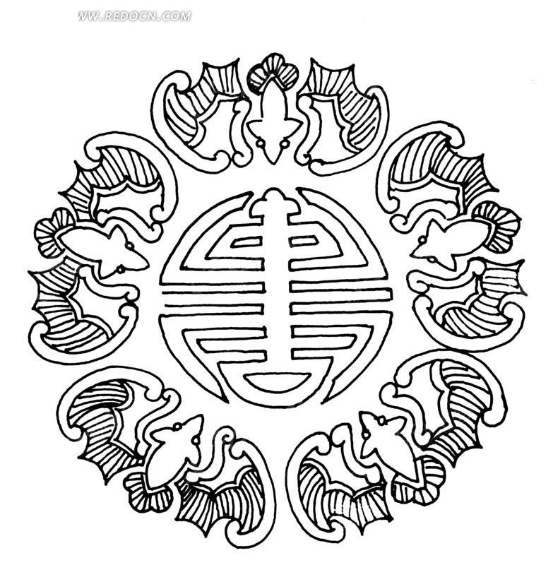 中国古典图案-寿字纹和蝙蝠构成的精美图案