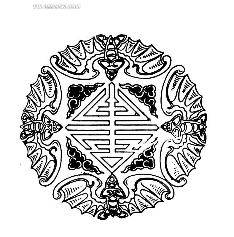 古典 圆形 蝙蝠 福寿 长寿 传统图案 传统纹样 矢量素材 ai矢量文件图片