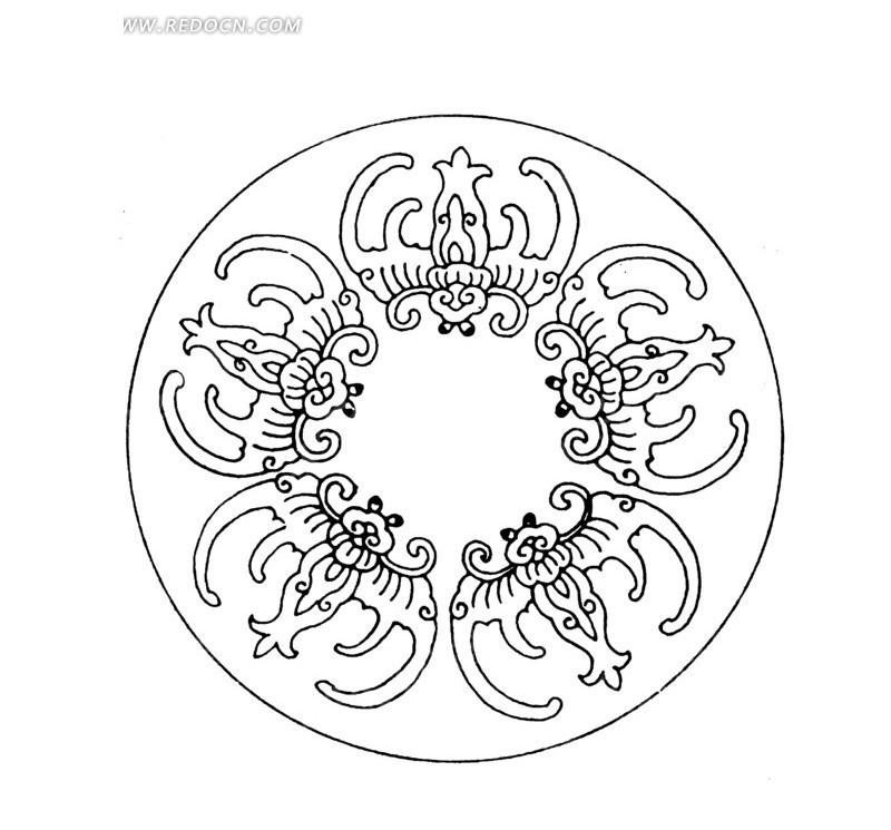 古典圆形福寿图案矢量素材