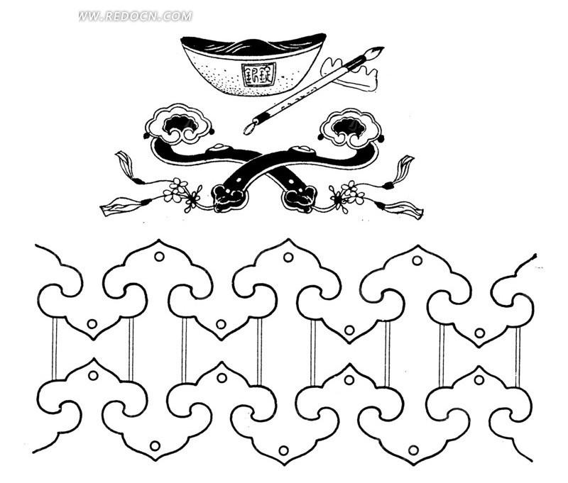 传统吉祥图案-如意 元宝 笔 如意头图片