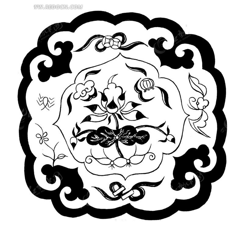 中国古典图案-荷花荷叶和如意纹构成的图案图片