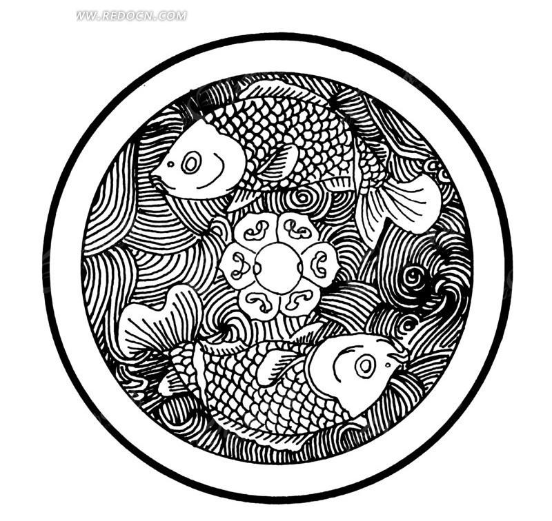 中国古典图案-双鱼和波浪构成的圆形图案