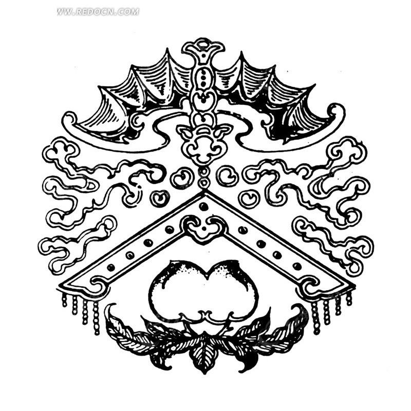 古代传统吉祥图案——福寿双全矢量图ai免费下载_传统