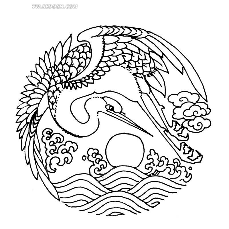 海浪 仙鹤 太阳 云朵 圆形图 手绘 线描图 传统图案 矢量素材