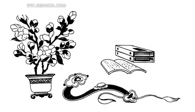 简笔画-盆栽边的玉如意和书本线描图AI免费下载 传统图案素材