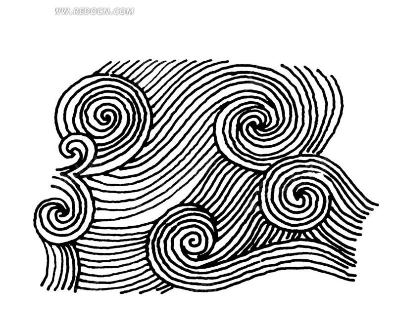 手绘浪纹流水