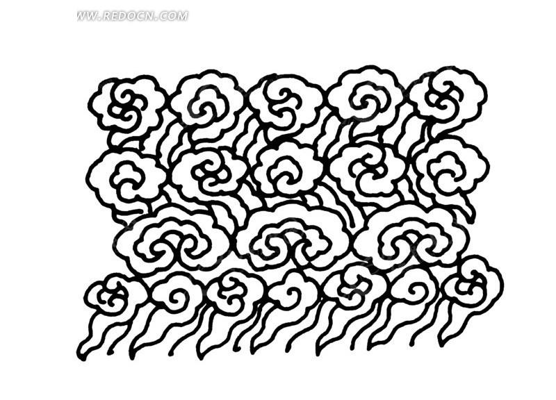 中国古典图案-云纹构成的图案图片
