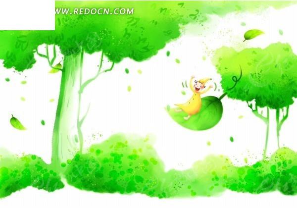 唯美绿色卡通风景psd分层素材